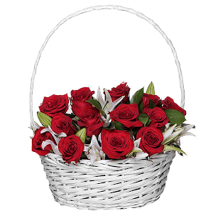 Корзина цветов Рубиновое сияние